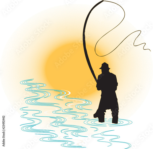 Fisherman in a sunset. - 23492442