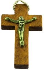 Christ sur croix bois, fond blanc