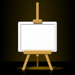 Wooden easel with blank canvas on a dark background. Vector.