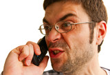 Furious Man Talking By Phone poster