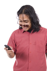 Long Hair Man With Cellphone