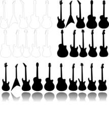 Eine Gruppe von 3 mal 10 gestellten E-Gitarren mit Spiegelung