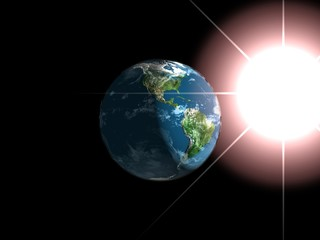 Earth and sun.