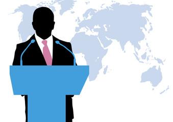 Politico en rueda de prensa