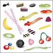 Lolly, Lutscher, Süßigkeiten, Weingummi, candy set
