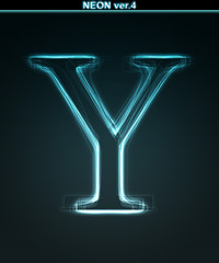 Glowing neon font. Shiny letter Y