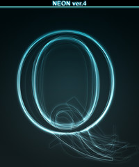 Glowing neon font. Shiny letter Q
