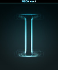 Glowing neon font. Shiny letter I
