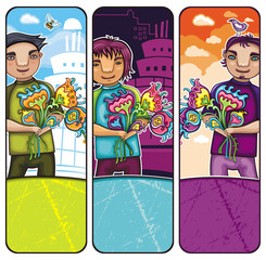 Young boy with flowers banners