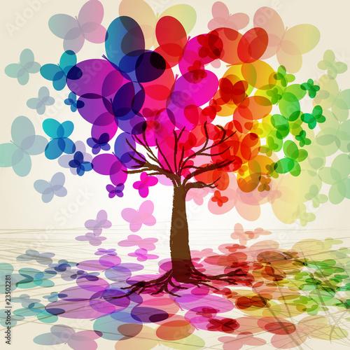 streszczenie-kolorowe-drzewa-wektor