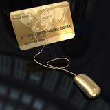Gold credit card internet transaction poster
