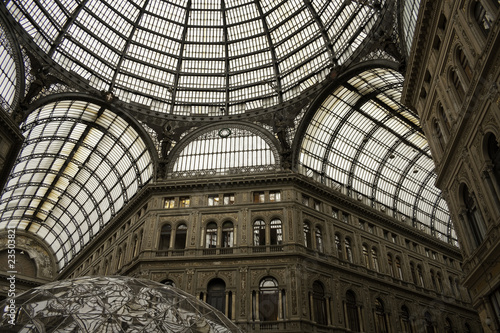 Glass Dome of Galleria Umberto I in Naples. Italy, Europe