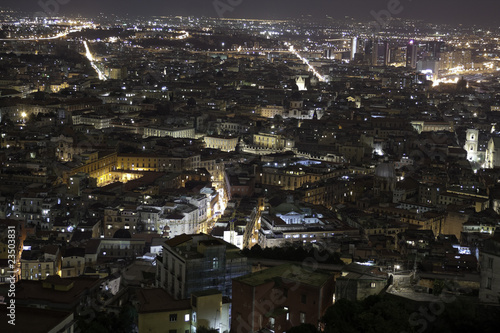 Panorama of Naples at night seen from Montesanto Hill, Italy