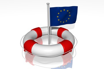 White life buoy with flag of EU