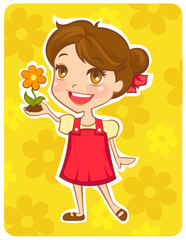 Eco-friendly girl hold a flower