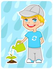 Eco-friendly boy water a plant