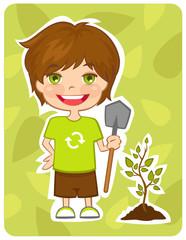 Eco-friendly boy plant a tree