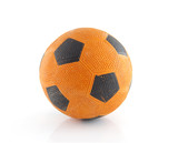 Dutch orange soccer ball over white background