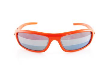 Soccer glasses over white background