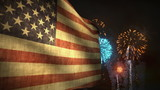 (1192) Fireworks Celebration American Flag Summer Entertainment