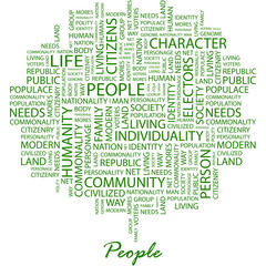 PEOPLE. Word cloud concept illustration.