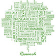 RESEARCH. Word cloud concept illustration.