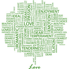 LOVE. Word cloud concept illustration.