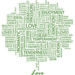 LOVE. Word cloud concept illustration.