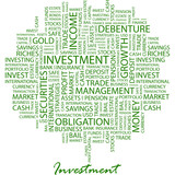 INVESTMENT. Word cloud concept illustration. poster
