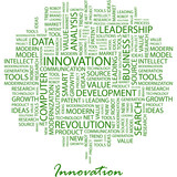 INNOVATION. Word cloud concept illustration. poster