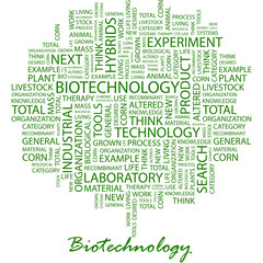 BIOTECHNOLOGY. Word cloud concept illustration.