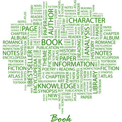 BOOK. Word cloud concept illustration.