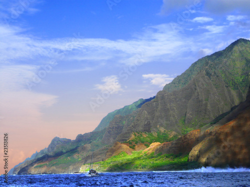 Na Pali Coastline at sunset, Kauai, Hawaii