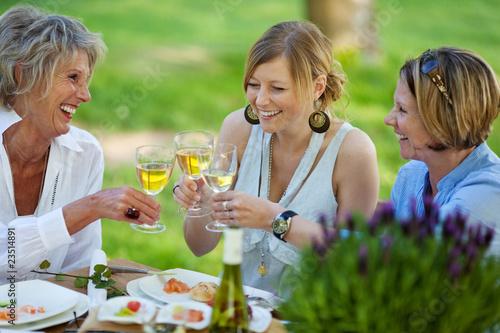 drei frauen trinken weißwein im garten - 23514891