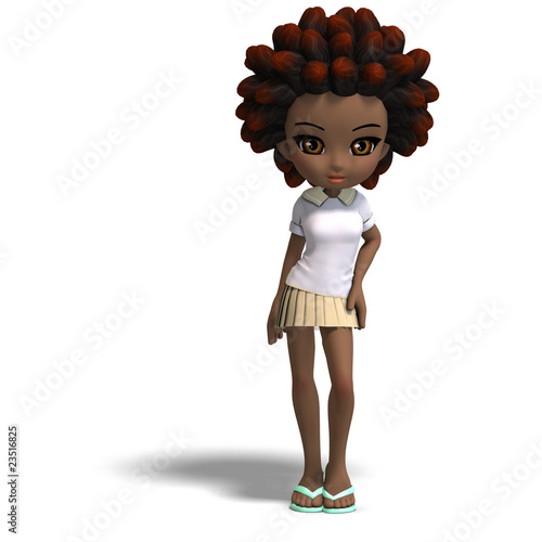 little cartoon girl with brown hair. cute little cartoon school