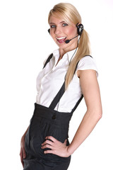Beautiful and sexy blond business woman with headset