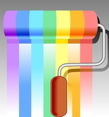 Illustration of paint roller in colour pattern