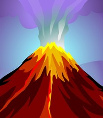 Illustration of hill with fire design