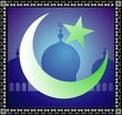 Illustration of Islamic symbols with mosque background