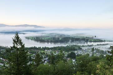 Fraser Valley at foggy sunrise
