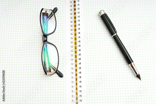 Pen and eye glasses on the page