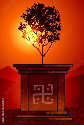 Illustration of plant in sun background