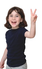 Laughing cute little years girl shows V-sign isolated