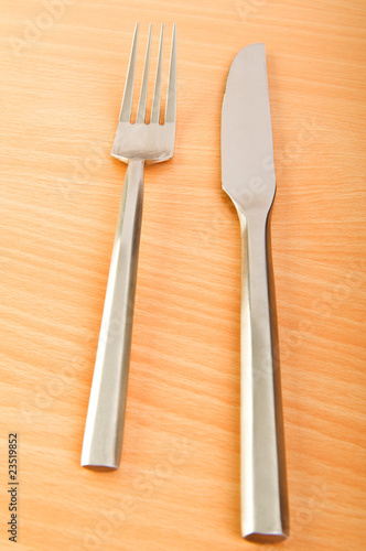 Table utensils on the wooden table