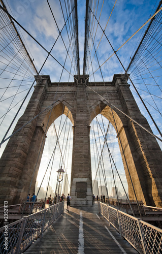 Upward view of Brooklyn Bridge