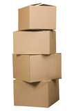 Fototapety Brown cardboard boxes arranged in stack