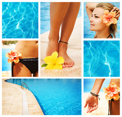 Swimming Pool collage.Vacation concept