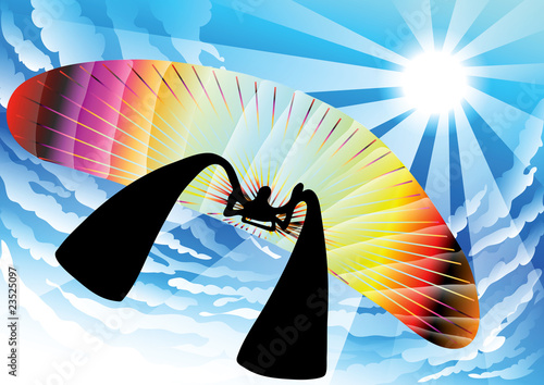 illustration shadow man cartoon playing paragliding