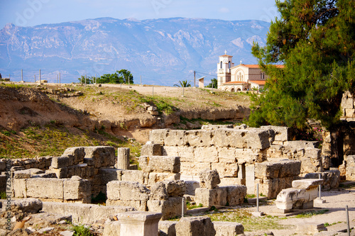 Archaeological Dig Site at  Apollo Temple, Corinth, Greece.
