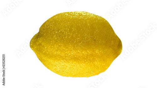 Wet lemon isolated on white. Lopable. Luma included.
